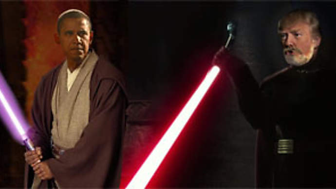 image for Obama And Trump Face Off In Not So Epic Lightsaber Battle