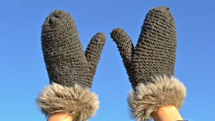 image for Hipster sewing mittens together