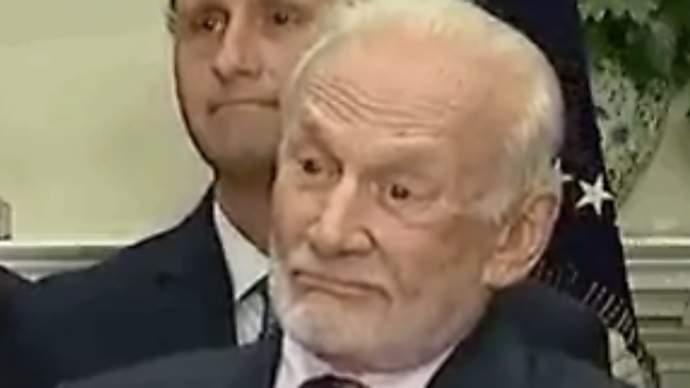 image for Trump.com™ all Spaced Out in the Oval Office - Buzz Aldrin collapses and confined to bed after Traumatic Sphincter Spasm