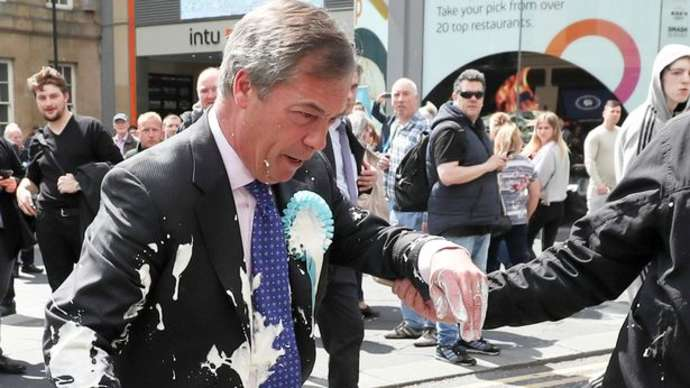image for Outrage as Farage's EU Election Results Party is Called Off by Police in Milkshake Riot Fears