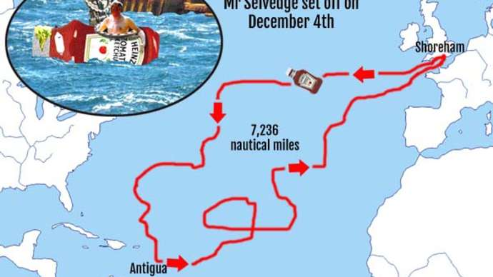 image for Sussex man robbed of Atlantic crossing record as ketchup bottle drifts back to the start