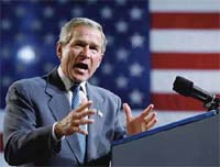 "image for Bush pushes to remove ""Democracy"" from public view"