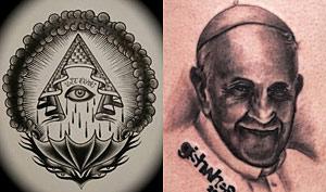 Image For Girl Steals Hat Reveals Popes Illuminati Tattoo