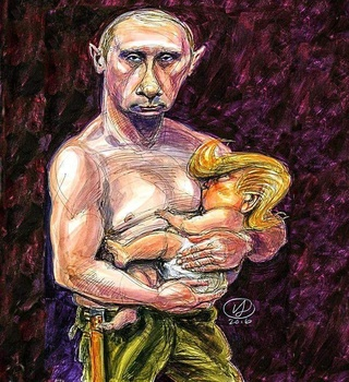 Image result for putin feeds baby trump