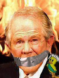 image for TBN Duck tapes Pat Robertson's Mouth Shut
