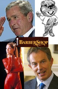 image for George Bush, Tony Blair, Britney Spears and her Beaver to form barber shop quartet